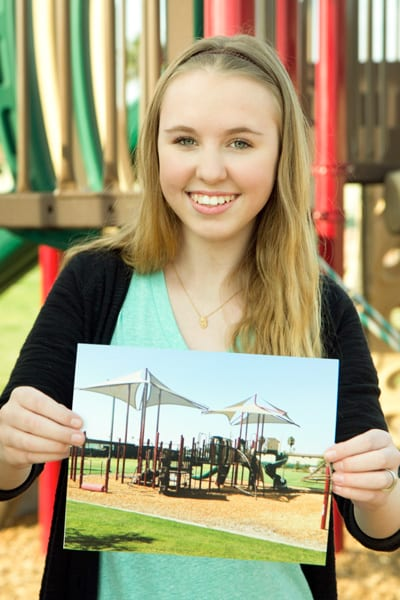 Kaitlin Riffel at Save the Children playground